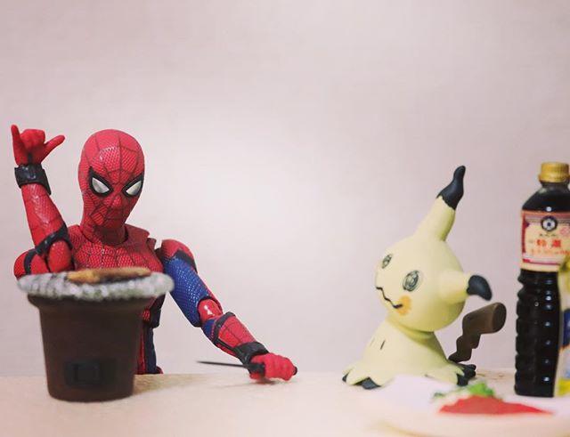 「これは魔法のポーズなんだ」#豆魚雷オモ写#オモ写#スパイダーマン#Spiderman#ポケモン#pokemon #ミミッキュ#figma#マーベル#一眼レフ#海洋堂#ファインダー越しの私の世界#フィギュア#marvel#toysphoto#toysphotography#figure#toyplanet#9000d